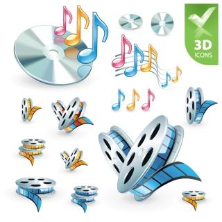 フィルムと音符のアイコン Music film 3d icon イラスト素材