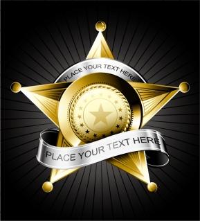 星形五角形とメタリックな盾のバッジ metallic shield and pentacle badges ribbon イラスト素材
