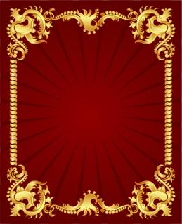 赤い背景に豪華な金色のボーダー european gold lace pattern イラスト素材3