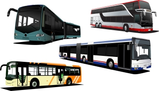 観光バスのクリップアート travel transport car bus イラスト素材2
