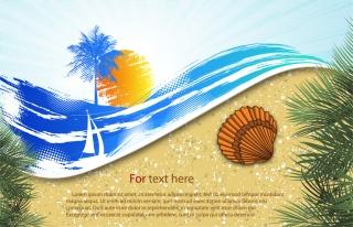 浜辺の背景 summer beach background イラスト素材