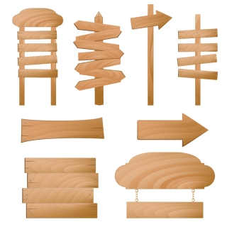木製看板テンプレート beautifully realistic wood signs イラスト素材
