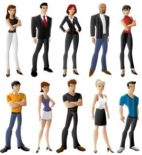 様々なキャラクターの人物クリップアート all kinds of cartoon characters vector イラスト素材2