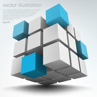 立体キューブの背景 3D box cube technology background イラスト素材