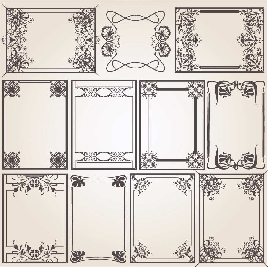 コーナー飾りの定番フレーム old-fashioned pattern edge border