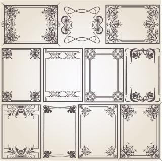 コーナー飾りの定番フレーム Old-fashioned pattern edge border イラスト素材