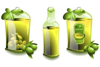 オリーブ オイル製品のデザイン見本 olives oil bottles イラスト素材4