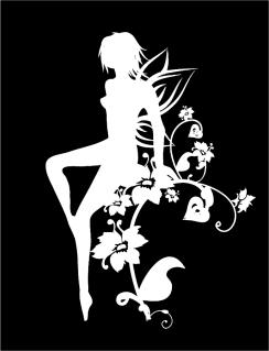 白と黒で表現した妖精の切り抜き Vector Black and White Girl イラスト素材