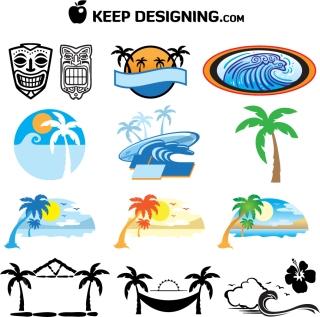 南国の島をイメージしたクリップアート summer tree mask palm イラスト素材