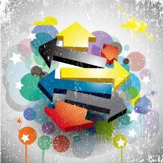 矢印を重ねたグランジスタイルの背景 abstract arrows background イラスト素材