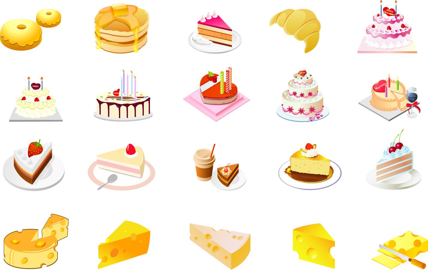 チーズとケーキのクリップアート cheese cake dessert vectorタイトル