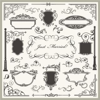 古風なフレーム コーナー飾り 袖看板 European pattern side corner elements  イラスト素材