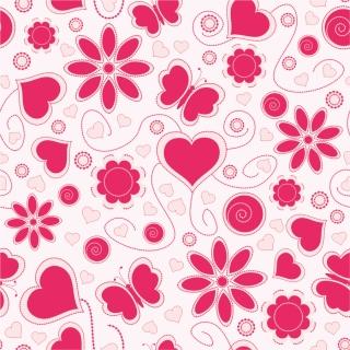ピンク色の愛らしいパターン背景 Love Pattern Background イラスト素材