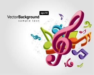 立体的な音符の背景 Three-dimensional music characters イラスト素材