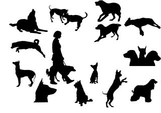 動きのある犬のシルエット art design Dog silhouettes イラスト素材