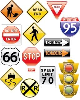 交通標識のクリップアート Vector icon road signs traffic light イラスト素材