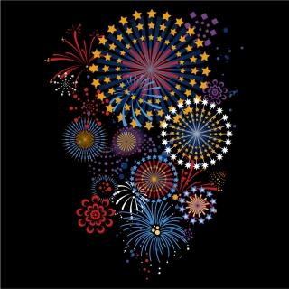 夜空に輝く花火のクリップアート celebration festivals fireworks vector graphic イラスト素材