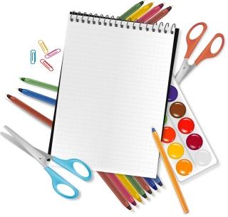 色鉛筆などの学用品 School supplies colored pencils イラスト素材