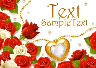 ロマンチックな薔薇のグリーティングカード romantic roses greeting cards イラスト素材