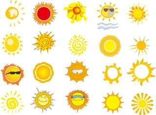 暖かな太陽のアイコン Sun warm yellow icons イラスト素材