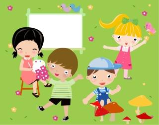 遊ぶ子供達のクリップアート children illustrator vector cute イラスト素材2