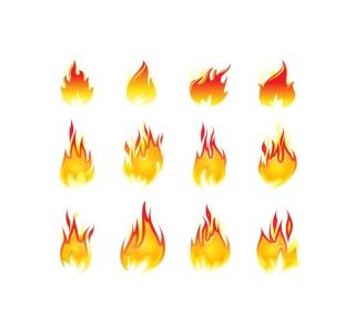 燃え上がる炎のアイコン icon Fire design elements イラスト素材