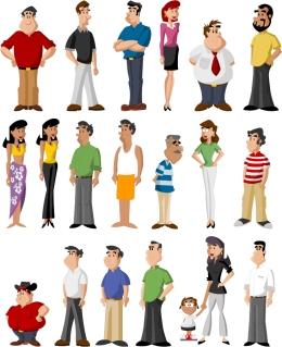様々なキャラクターの人物クリップアート all kinds of cartoon characters vector イラスト素材