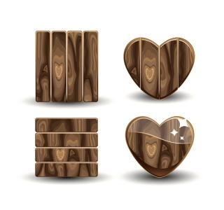 自然の風合いが美しい木製看板 nature beautiful realistic wood signs イラスト素材2