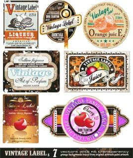 お洒落なヴィンテージ ステッカー fruit ribbons graphics stickers イラスト素材2