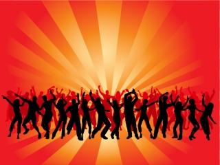 クラブでダンスを楽しむシルエット dancing in silhouette figures vector イラスト素材
