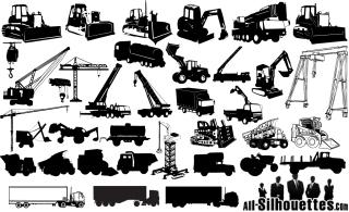 建設機械のシルエット Construction Machines Silhouettes Vector イラスト素材