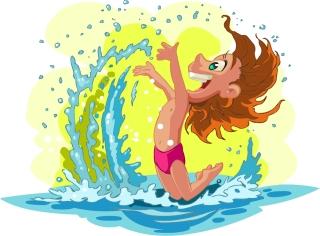 海辺で遊ぶ子供のクリップアート cartoon children summer beach vector イラスト素材5