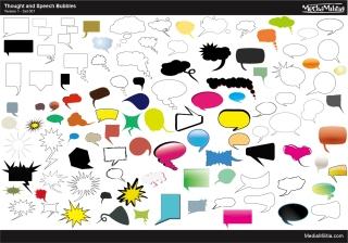 色形違いの吹出し集 Speech Bubbles Pack イラスト素材