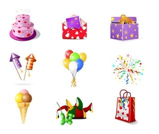 誕生日グッズのクリップアート birthday theme icon vector イラスト素材
