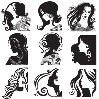 長い髪の女性のシルエット long hair women fashion silhouette イラスト素材