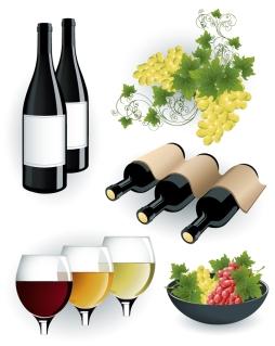 ワインを題材にしたクリップアート wine bottle stickers イラスト素材