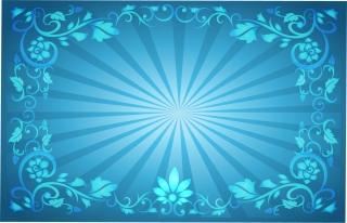 光線が拡がる花柄フレーム Flower Frame Sunburst Background イラスト素材