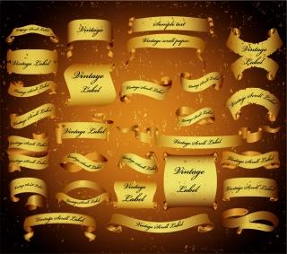 美しいリボン飾りのバナー scroll ribbons banners  イラスト素材5