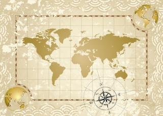 古い世界地図のクリップアート Old maps kraft paper イラスト素材2