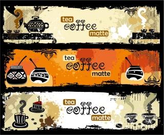 珈琲テーマの手書き風バナー coffee theme banner vector イラスト素材