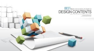 ノートに立体的なキューブをデザインした背景 3d fashion design business vector background イラスト素材