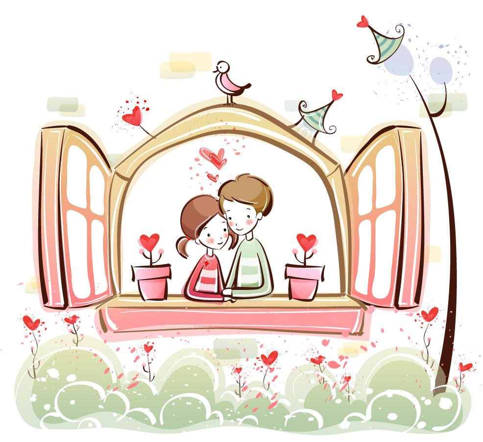 愛し合うカップルのクリップアート cute little love couple vector