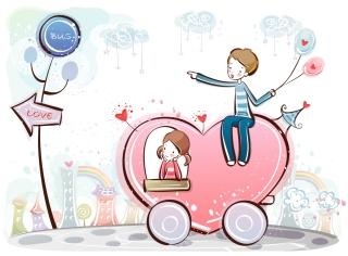 愛し合うカップルのクリップアート cute little love couple vector イラスト素材4