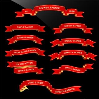 美しいリボン飾りのバナー scroll ribbons banners  イラスト素材
