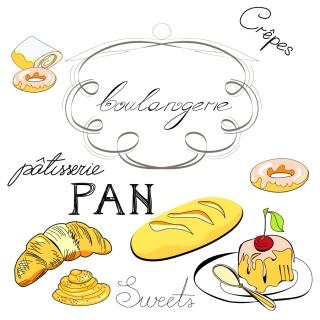 線画で描く食品や台所用品 line drawing of food and kitchen utensils vector イラスト素材