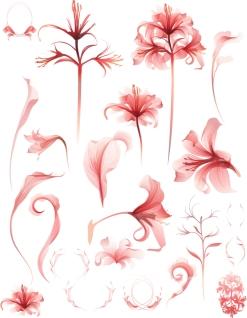 優雅なピンクの花弁 nature plants flower イラスト素材