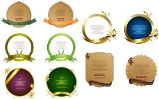 金色に輝くリボンフレーム beautiful ribbon gift card イラスト素材