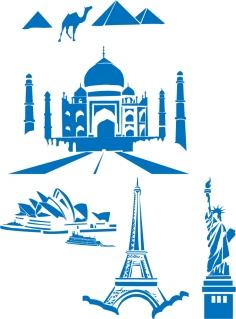 世界的なランドマークのシルエット World Landmarks Egipt Paris Sydney Ny Taj Mahal clip art イラスト素材
