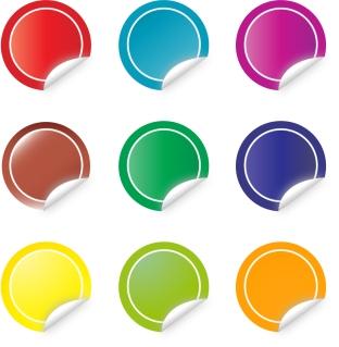 カラフルな丸いステッカー circle colorful sticker vector イラスト素材