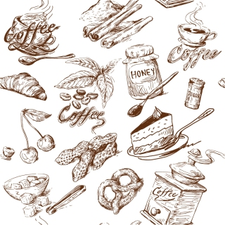 線画で描く食品や台所用品 line drawing of food and kitchen utensils vector イラスト素材3